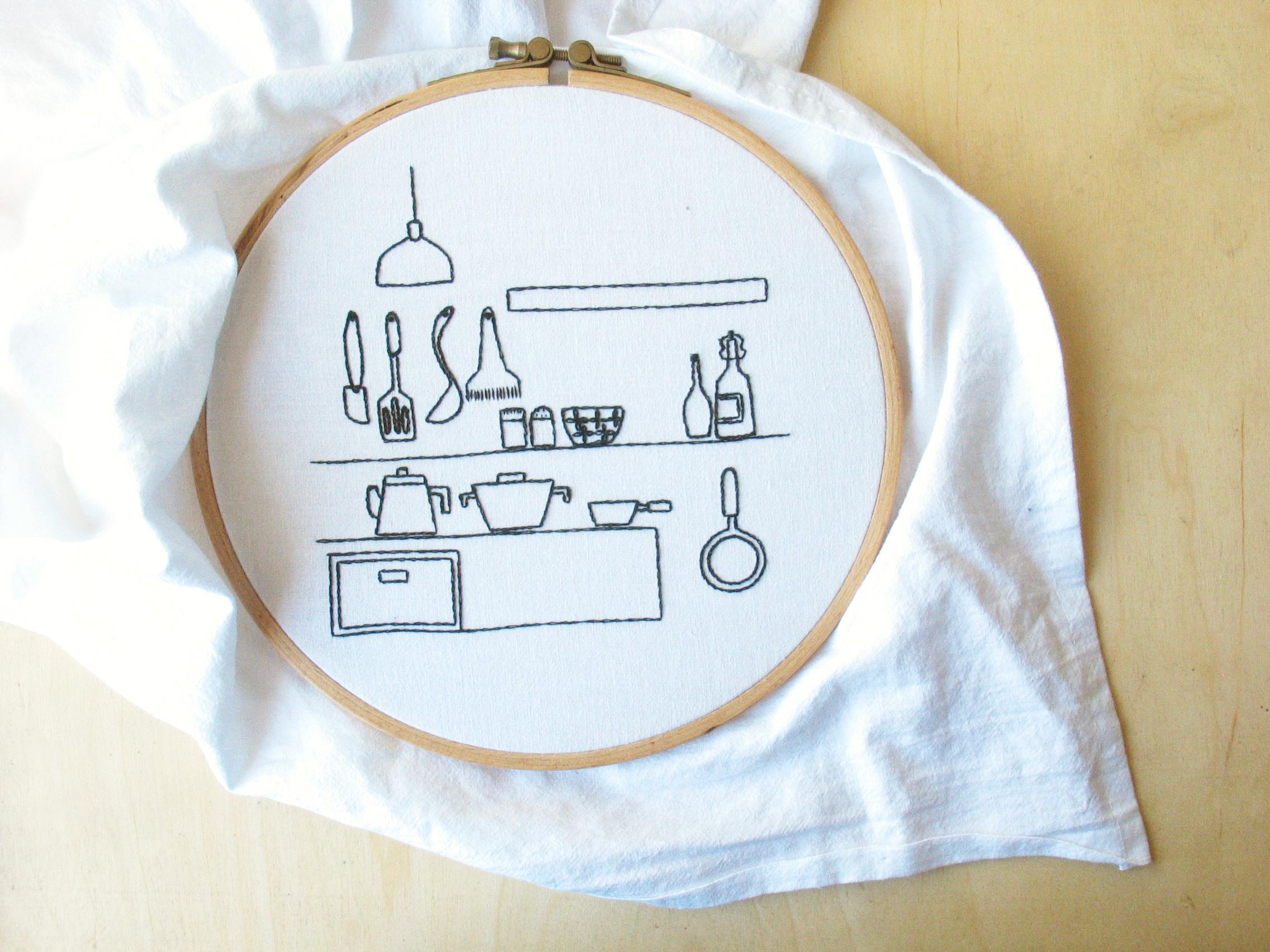 Embroidery japanese scandinavian kitchen