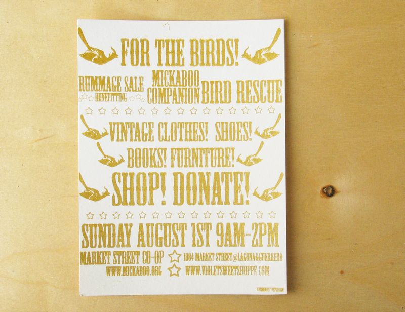 Mickaboo gold letterpress