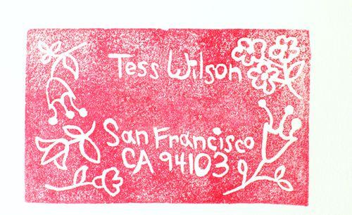 Tess' stamp red!