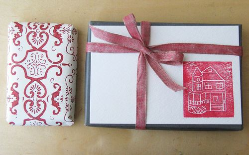 Home stamp gift wrap