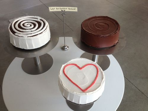 Cakes for Wayne Thiebaud's 92nd birthday.
