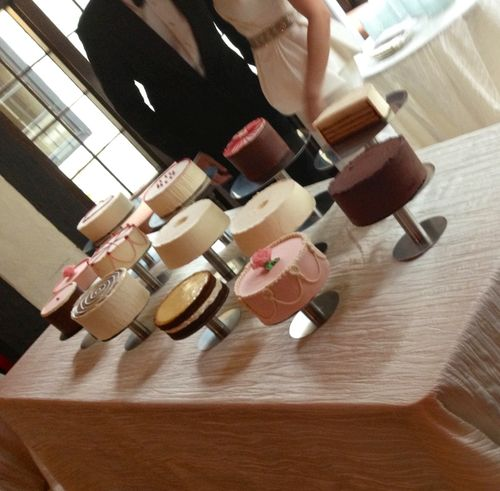 Wayne Thiebaud-inspired wedding cakes.
