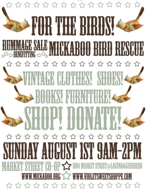 Poster design for Mickaboo Bird Rescue fundraiser.